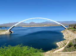 Suspension bridge by the dam.