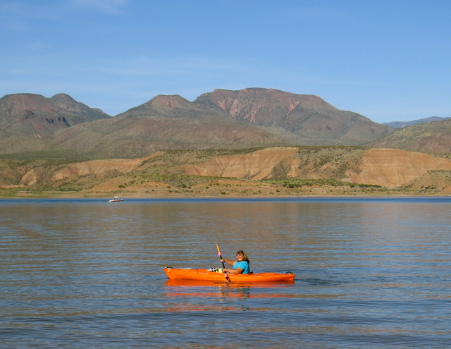 I'm happy kayaking, people kept asking why I had a kayak in the desert.