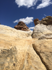 The NPS has carved stone steps to help climbers get up to the top.
