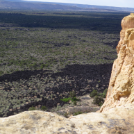 Climbing up on the sandstoe bluff in Malpais you could see lava beds for miles.