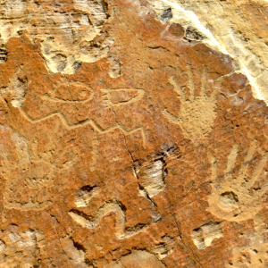 Examples of petroglyphs found in El Morro, I like the bear paws.