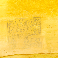 A Spanish signature, some of these were darkened with graphite by early employees of the National Park System because they feared they would disappear.