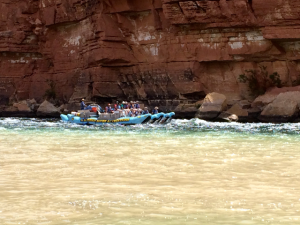 Rafters on their way through the Grand Canyon. The trip takes about 22 days.