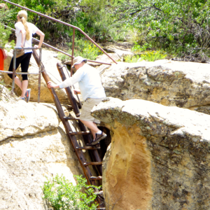 Climbing up after visiting the cliff dwelling.