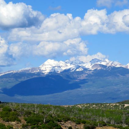 A view of the Rocky Mountains from the Mesa Top.